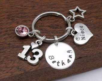 13th Birthday Gift For Niece Keyring Name Keychain Age 13 Personalised Year Old Birthstone