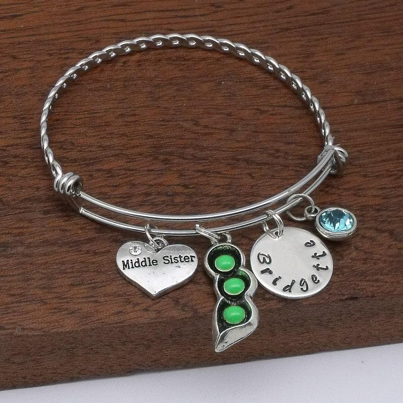 birthstone 3 sister bracelet personalised sister name gift Big Middle Little sister bracelet gift 3 sister jewellery 3 peas in a pod
