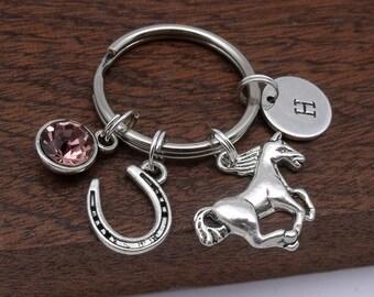 Horse keyring gift, horse keychain, horseshoe keyring keychain, horse with horseshoe, personalised horse gift, birthstone, initial, letter