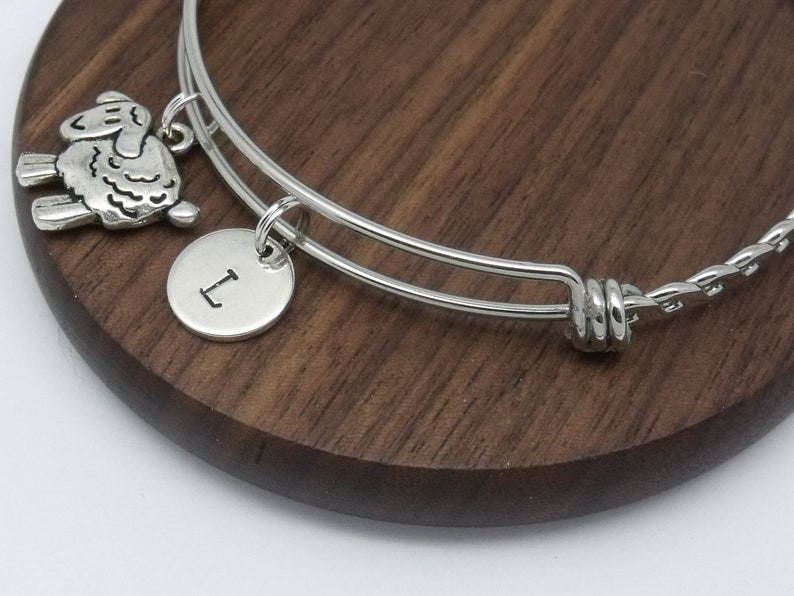Sheep initial bracelet gift sheep bangle personalised sheep gift customised initial letter sheep jewellery
