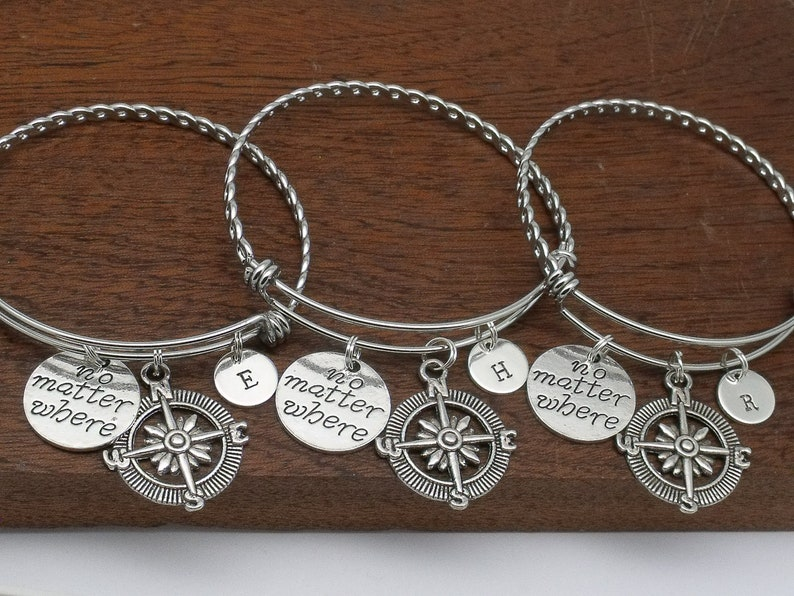 sister going away gift personalised gift for friend no matter where Set of 3 three distance compass initial friendship bracelets