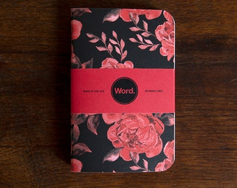 WORD - Black Floral Notebook - 3 Pack Bundle