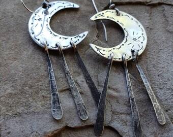 Crescent moon earrings. Sterling silver earrings. Gypsy earrings. Moon earrings. Crescent moon jewelry. Southwestern. Dangle earrings. Boho