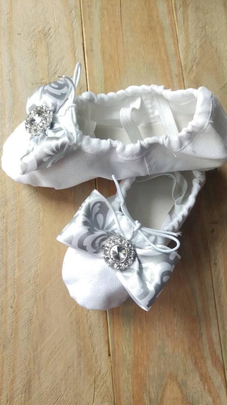 d95c57fbd412d White ballet toddler flower girl shoes, silver bow, rhinestone brooch,  ballet slippers, ballet shoes, bridal shoes, toddler shoes