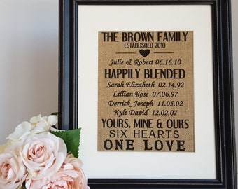 Blended Family Burlap Sign - Family Established Sign - Stepmother Personalized Gift - Our Family Happily Blended - Personalized Burlap Signs