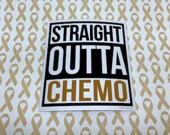 Straight Outta Chemo Gold Sticker