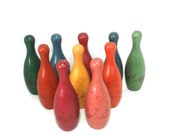 Wood Bowling Pin Set of 10 Small Vintage Wooden Bowling Pins Collectible Wood Toy 5 quot High Bowling Pins Ten Mini Colored Old Game Pins