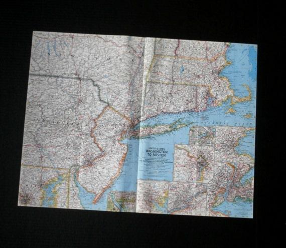 Map Of United States Washington Dc.Vintage Map Of United States Washington To Boston Area Etsy