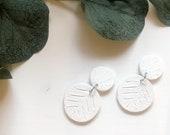 White Patterned Earrings | Polymer Clay Earrings