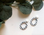 White & Black Striped Hoop Earrings | Polymer Clay Earrings