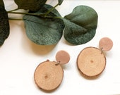 Pink & Wood Earrings | Polymer Clay Earrings