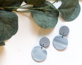 Grey and Blue Marble Earrings | Polymer Clay Earrings