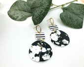 Striped & Floral | Faux Leather Earrings