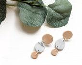 Wood & Grey Marble Earrings | Polymer Clay Earrings