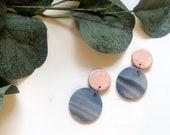 Gold & Blue Marble Earrings | Polymer Clay Earrings