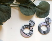 Large Black and Multicolor Earrings | Polymer Clay Earrings