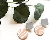 Grey & Tan Marble Earrings | Polymer Clay Earrings