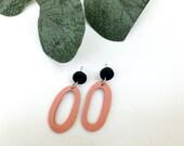 Black & Peach HoopEarrings | Polymer Clay Earrings