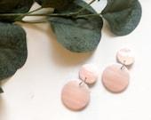 Tan & White Marble Earrings | Polymer Clay Earrings