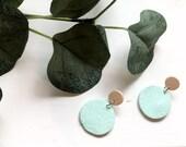 Etched Teal & Wood Earrings | Polymer Clay Earrings