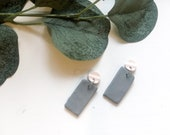 Small Grey & White Marble Earrings | Polymer Clay Earrings