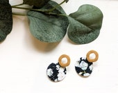 Floral Leather & Yellow Earrings | Leather Earrings