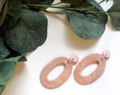 Large Copper Hoop Earrings | Polymer Clay Earrings