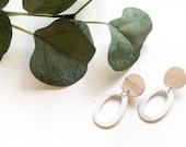 Wood & White speckled Earrings | Polymer Clay Earrings