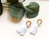 Yellow and White Tassel Earrings | Tassel Earrings