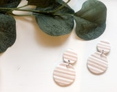 Tan and White Speckle Striped Earrings | Polymer Clay Earrings