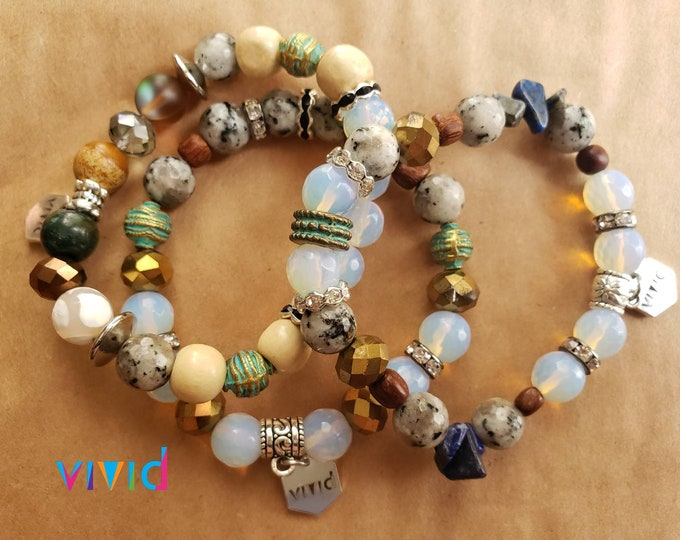 READY TO SHIP, Stretch Beaded bracelet, semi precious stones, mixed media and stones, stacked bracelet, arm candy