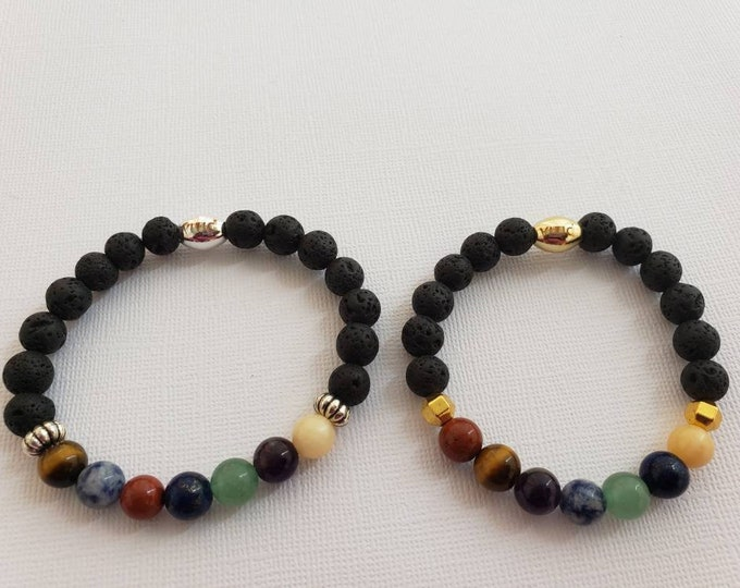 READY TO SHIP, Charkra bracelet using semi precious stones and lava beads for essential oils BeVivid