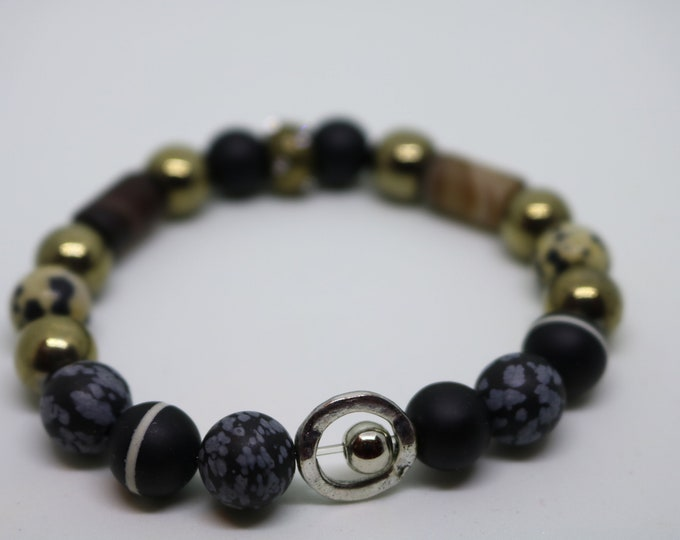 onyx, hematite and jasper stretch beaded bracelet