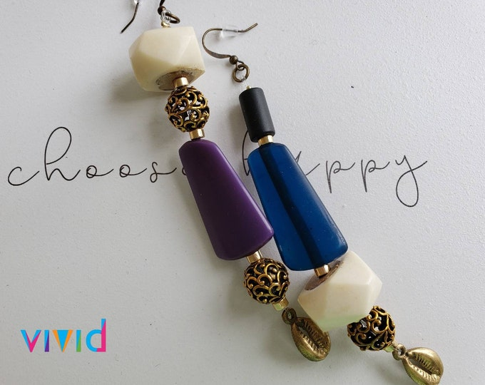 READY TO SHIP mix matched earrings, brass, resin, cowry shell, afrocentric, bohemian, Be Vivid.