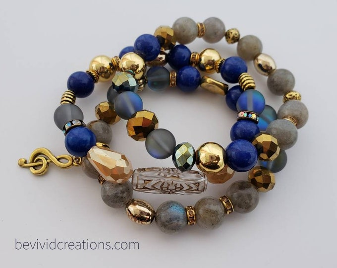 READY TO SHIP hematite, blue jade, moonstone, boho chic, semi precious stones stretch beaded bracelet