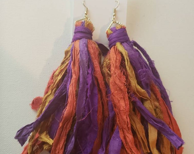 Gypsy silk earrings. Multicolored, royal, bohochic, afrocentric, fringe earrings, statement jewelry, statement earrings, tassel earrings.