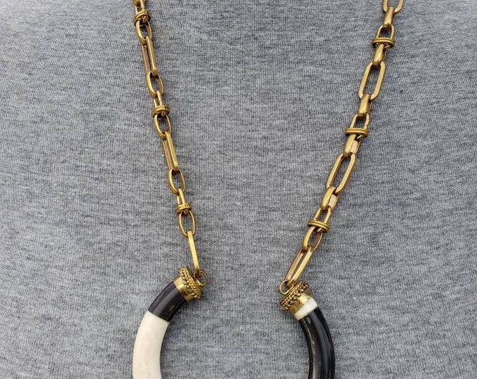 READY TO SHIP brass chain with horn and bone charm. Bohochic afrocentric statement necklace