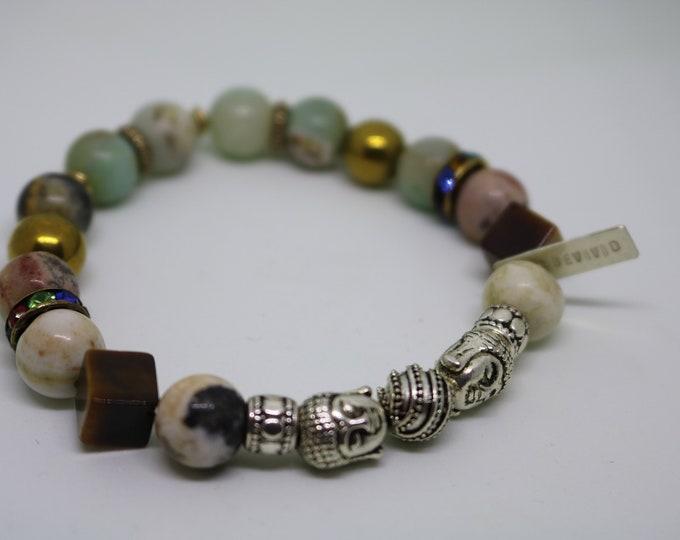 Tiger Eye, Agate and Metal stretch beaded bracelet