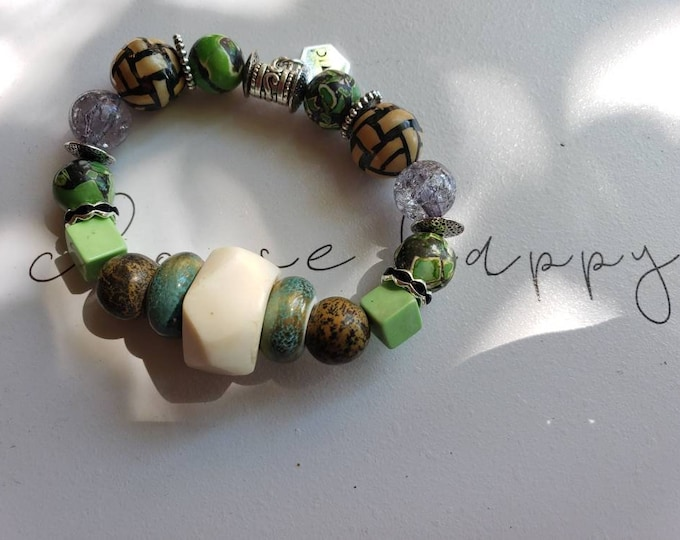 Amazing stretch beaded bracelet, jade, jasper bracelet, horn, ceramic bead bracelet, unique gifts, wakanda, afrocentric, Be Vivid
