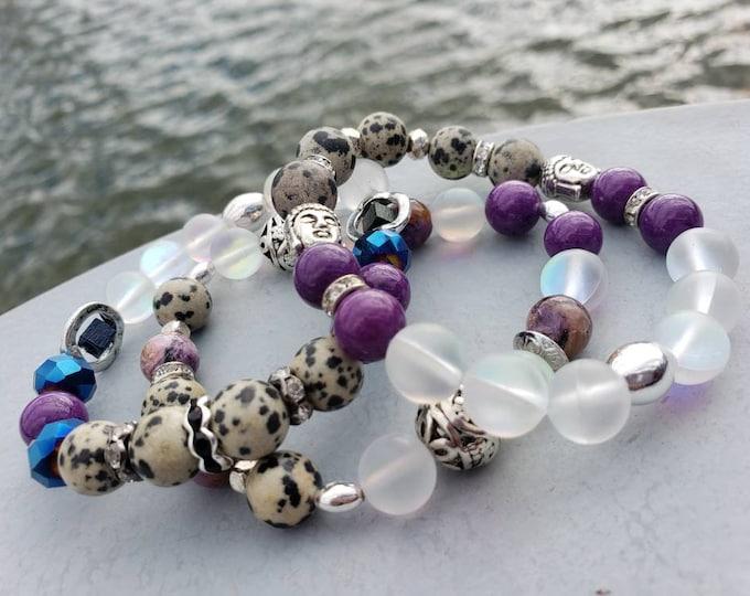 READY TO SHIP purple jade moonstone wood metals dalmatian jasper multi semi precious