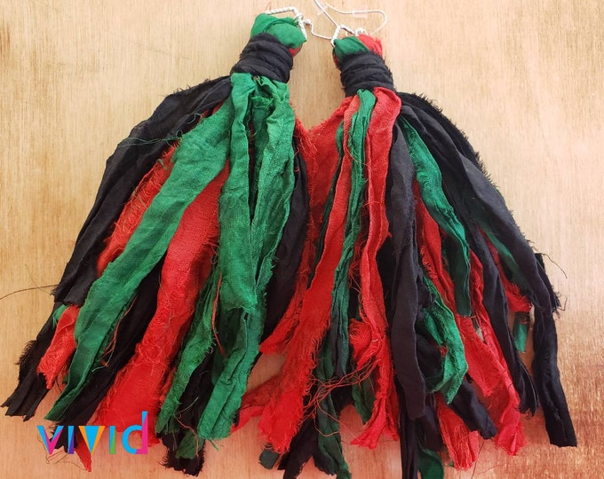 Gypsy sari silk tassel earrings. Red, black green, bohochic, afrocentric, fringe earrings, statement earrings, tassel earrings.