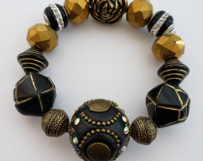 Amazing stretch beaded bracelet, faceted bead bracelet, ceramic bead bracelet, unique gifts, wakanda, afrocentric, Be Vivid