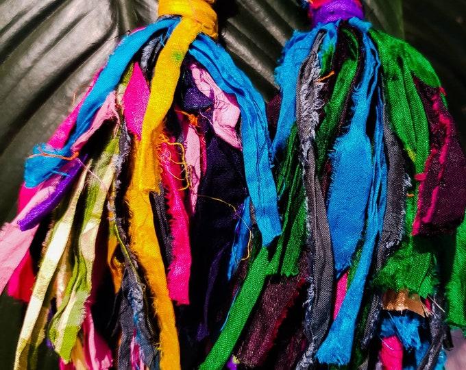 Gypsy silk tassle earrings. Multi colored, bohochic, afrocentric, fringe earrings, statement jewelry