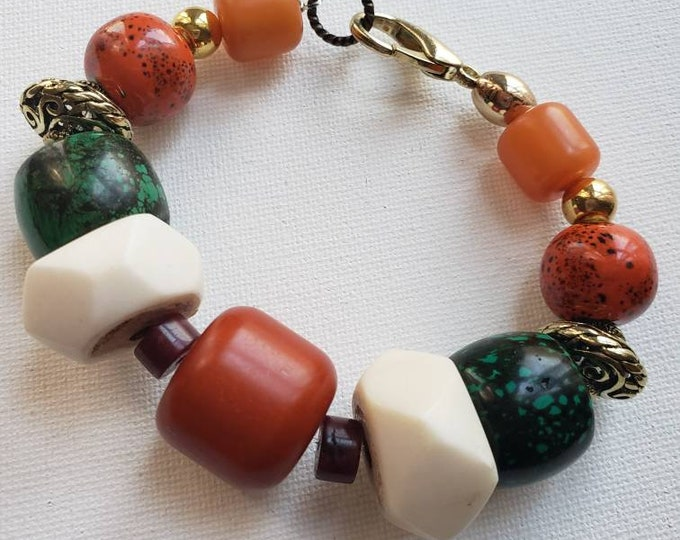 READY TO SHIP, beaded bracelet, amber, turquoise, bone, bohochic, afrocentric, statement