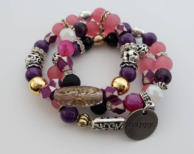 READY TO SHIP pink, purple, Mother's  day gifts, semi precious stones stretch beaded bracelet