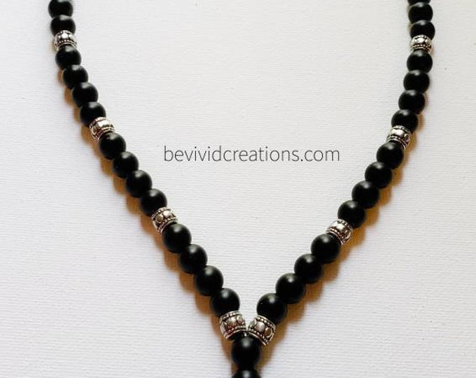 READY TO SHIP onyx, metal and sterling silver prayer bead necklace. Unisex beaded jewelry