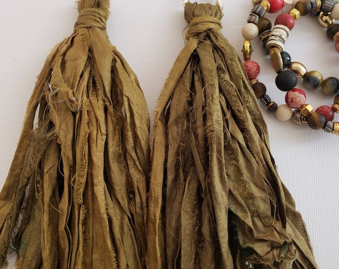 Gypsy sari silk earrings. Olive, bohochic, afrocentric, fringe earrings, statement jewelry, statement earrings, tassel earrings.