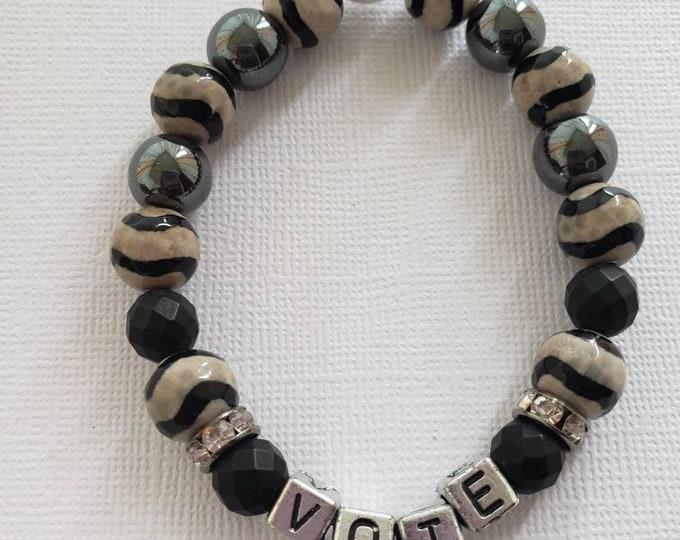 READY TO SHIP, Vote Semi Precious Stones Bracelet Handmade  Gemstone Bracelet Boho Bracelet Stretch Bracelet Gifts BeVivid
