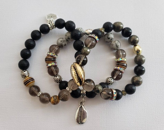 READY TO SHIP, Stretch Beaded bracelet, semi precious stones, mixed media and stones, stacked bracelet, arm candy, cowry shells