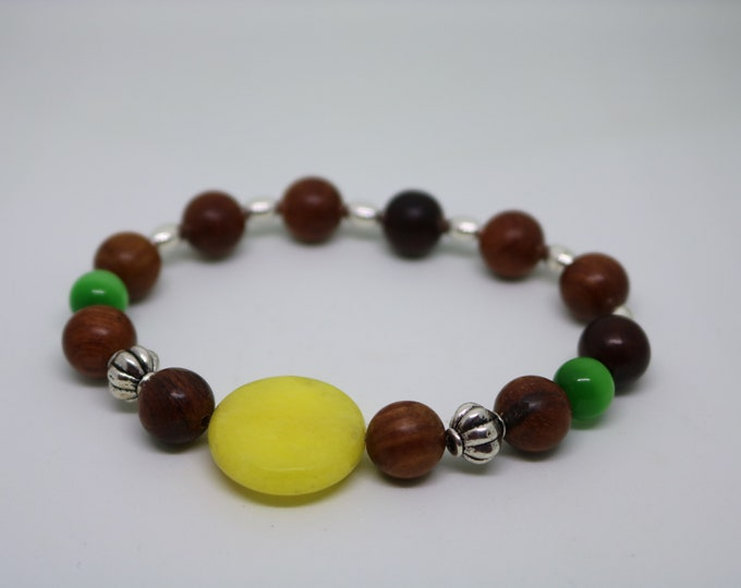 Jade, Cat Eye, and Wood Bead Bracelet